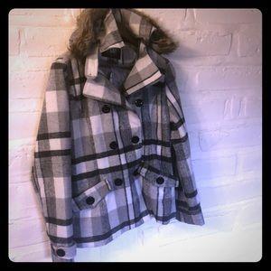 Women's Plaid Jacket with Fur Hood